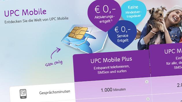 "UPC startet eigenes Mobilfunk-Angebot ""UPC Mobile"" (Bild: upc.at/mobile)"