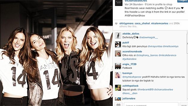 Alessandra Ambrosio, Lily Aldridge, Karlie Kloss, Behati Prinsloo (Bild: instagram.com/victoriassecret)