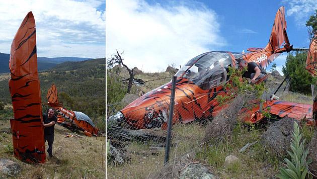 Ronnie Seunig beim Bergen letzter Reste der Evektor SportStar, mit der er abstürzte. (Bild: Donron, Simma Cover)