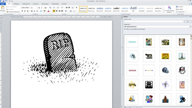 Microsoft trägt Office-Bildarchiv ClipArt zu Grabe (Bild: Screenshot, Office 2010)