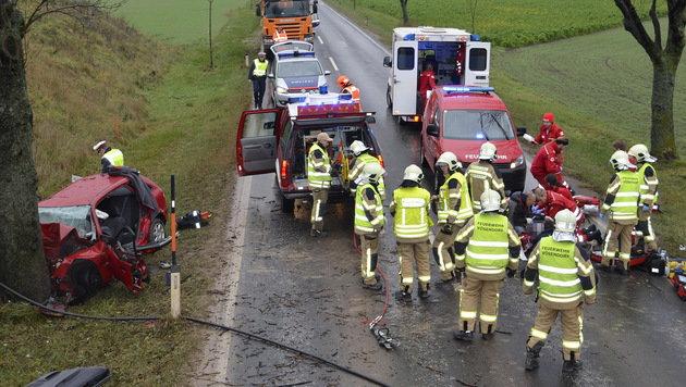 NÖ: Pkw-Lenker (44) stirbt nach Kollision mit Baum (Bild: Lukas Derkits/Pressestelle BFK Mödling)