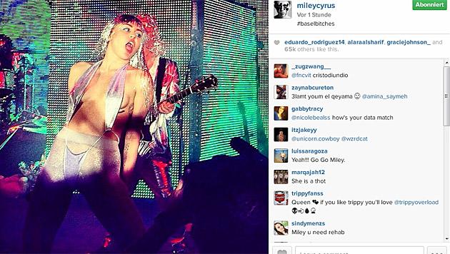 Auf der Bühne gab Miley ordentlich Gas. (Bild: instagram.com/mileycyrus)