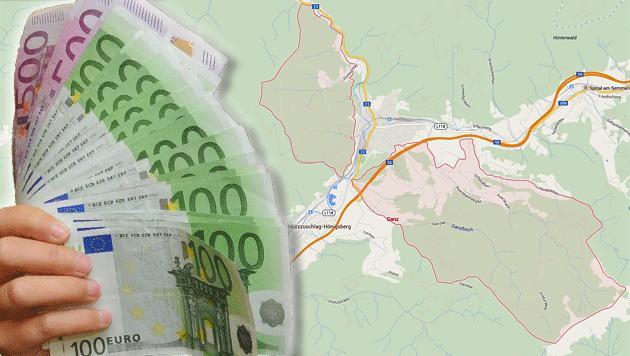 Die Gemeinde Ganz (rot unterlegt) nahe Mürzzuschlag in der Steiermark (Bild: Chris Koller, maps.google.at)