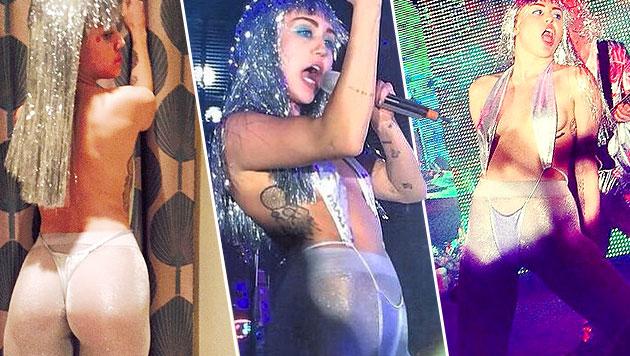 Fast nackt feierte Miley Cyrus auf der Art Basel. (Bild: instagram.com/mileycyrus)
