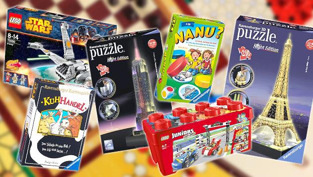 Bis zu 161% Preisdifferenz bei Spielen und Puzzles (Bild: Ravensburger, LEGO, thinkstockphotos.de, krone.at-Grafik)