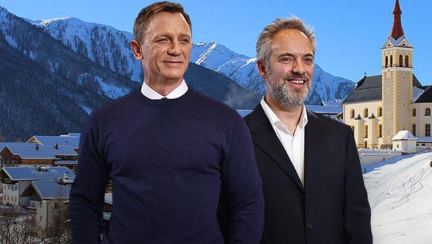 Daniel Craig und Sam Mendes holen Bond wieder in den Schnee - in diesem Fall von Obertilliach. (Bild: AFP, Tourismusbüro Obertilliach, krone.at-Grafik)