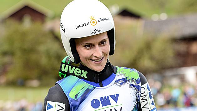 Eva Pinkelnig - in Nullkommanix zur Skispringerin (Bild: GEPA)