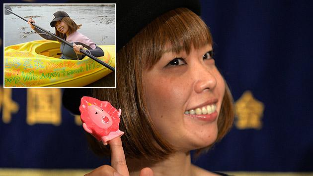 """Künstlerin Rokude Nashiko hat wegen ihres """"Pussy Boat"""" Ärger mit der Polizei. (Bild: AFP, mess-y.com)"""