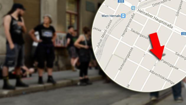 """""""Pizzeria Anarchia""""-Aktivisten protestieren in der Paletzgasse in Ottakring. (Bild: maps.google.at, APA/HERBERT NEUBAUER)"""