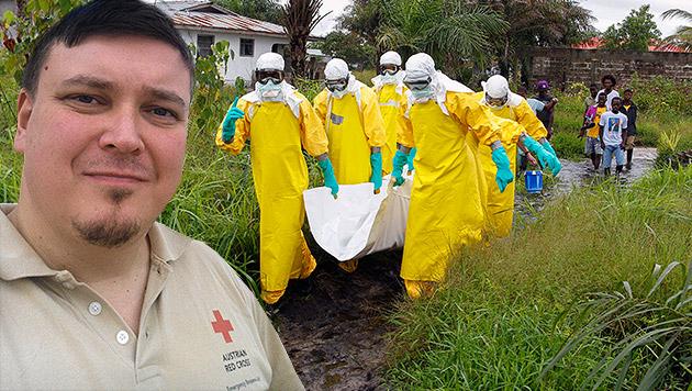 Wie grausam ist Ebola, Herr Dr. Kühnel? (Bild: Michael Kühnel, APA/EPA/AHMED JALLANZO, krone.at-Grafik)