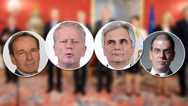 Die Koalitionschefs Mitterlehner und Faymann, umringt von den Meinungsforschern Bachmayer und Hajek (Bild: APA/ROLAND SCHLAGER, OGM, APA/GEORG HOCHMUTH)