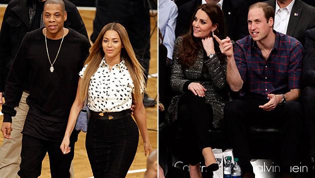 Jay-Z und Beyonce trafen beim Basketball auf Kate und William. (Bild: APA/EPA/JASON SZENES)