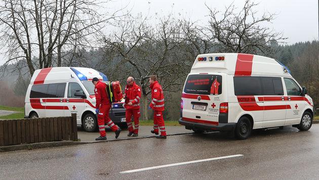 Drei Rettungsautos sowie ein Hubschrauber waren im Zuge der Bissattacke in OÖ im Einsatz. (Bild: Daniel Scharinger)