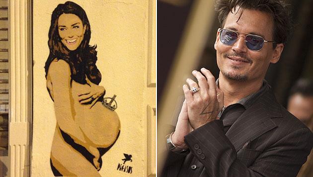 """Johnny Depp reibt sich die Hände, er besitzt jetzt die """"Nackte Kate"""". (Bild: www.pegasusstreetart.com, AFP)"""