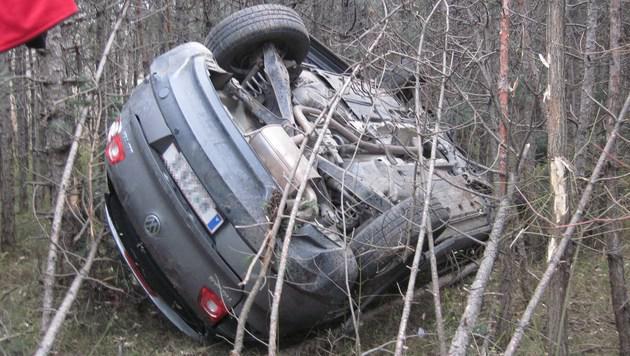 Das Auto blieb im Straßengraben am Dach liegen. (Bild: Presseteam der Feuerwehr Wiener Neustadt)