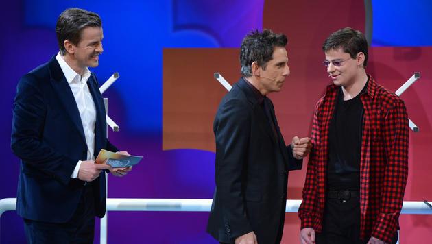 Ben Stiller mit seinem Wettkandidaten (Bild: ZDF)
