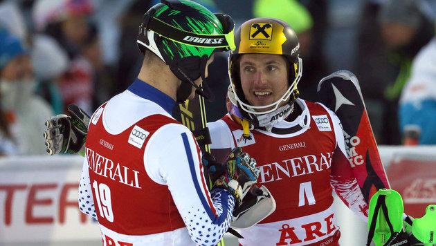 Hirscher gewinnt in Are & zieht mit Klammer gleich (Bild: AP)