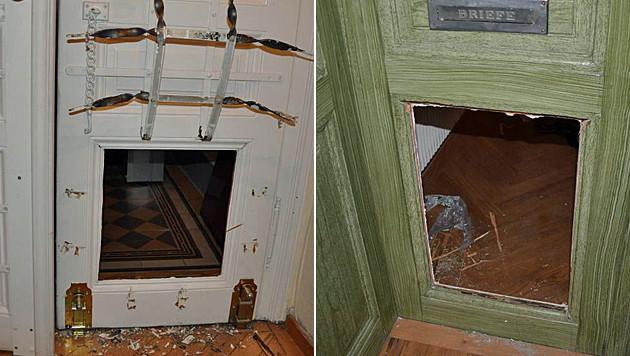Die mutmaßlichen Täter brachen die unteren Türhälften auf und gelangten so ins Innere der Wohnungen. (Bild: Polizei)