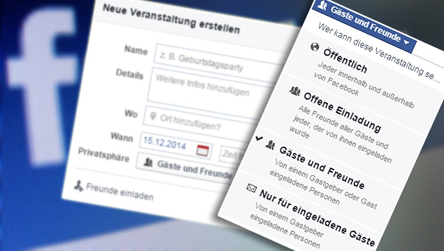 Facebook-Party ufert aus: Polizeieinsatz in Tirol (Bild: dpa/Stephan Jansen, Screenshot Facebook)