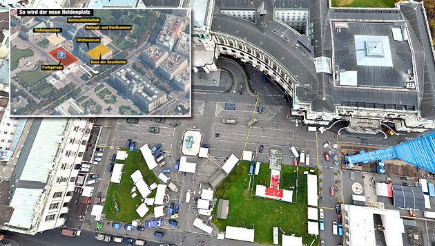 Ostermayer plant Umgestaltung des Heldenplatzes (Bild: APA/HERBERT NEUBAUER, Krone-Grafik)