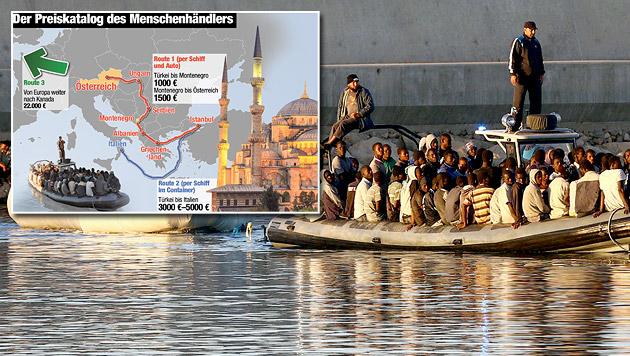 """Schlepper: """"Die meisten wollen nach Österreich"""" (Bild: Krone-Grafik, APA/EPA/STR)"""