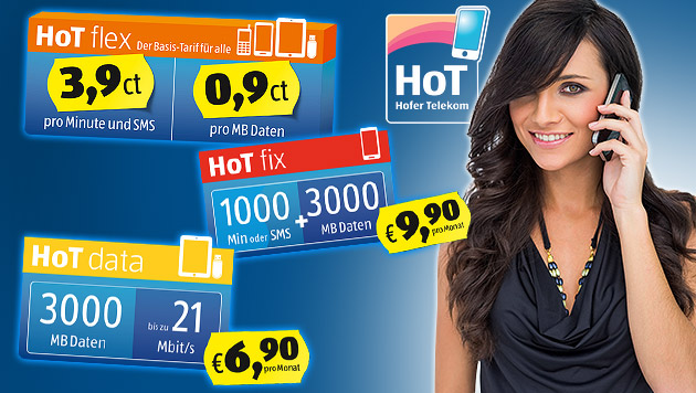 Hofer startet mit Kampfpreisen als Mobilfunker (Bild: HoT, thinkstockphotos.de. krone.at-Grafik)