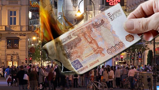 Wie die Rubel-Krise jetzt auch Österreich trifft (Bild: thinkstockphotos.de, krone.at-Grafik)