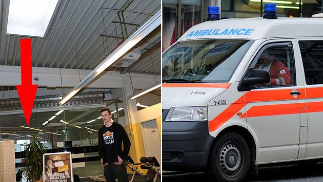 """Durch diese Glaskuppel stürzte der Arbeiter. """"Happy Fit""""-Mitarbeiter Martin Ainetter ist geschockt. (Bild: Werner Kerschbaumayr, Andreas Graf)"""