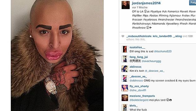 Jordan James Parke postet regelmäßig Fotos von seinem Gesicht auf Instagram. (Bild: EPA, instagram.com/jordanjames2014)
