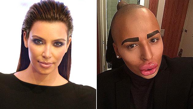 Kim Kardashian wird von Fan Jordan James Parke kopiert - koste es, was es wolle. (Bild: EPA, instagram.com/jordanjames2014)