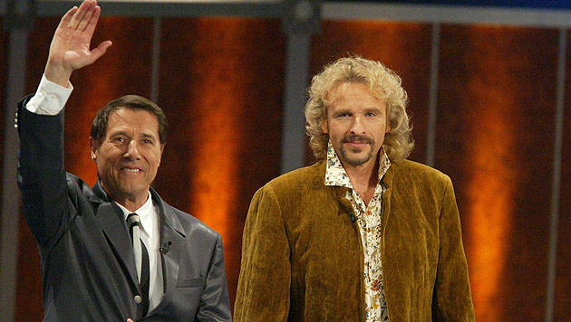 Zwei Showlegenden: Udo Jürgens und Thomas Gottschalk (Bild: Urs Flueeler/EPA/picturedesk.com)