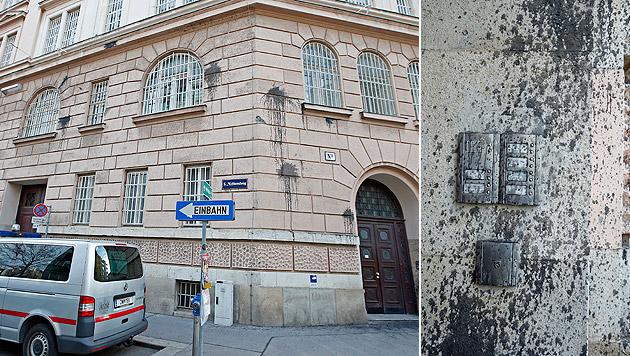 Die Unbekannten warfen Beutel mit schwarzer Farbe auf die Fassade der Justizanstalt. (Bild: Reinhard Holl)