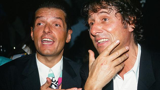 Zwei österreichische Legenden: Falco und Udo Jürgens im Jahr 1985 (Bild: Elmar Gubisch/APA/picturedesk.com)