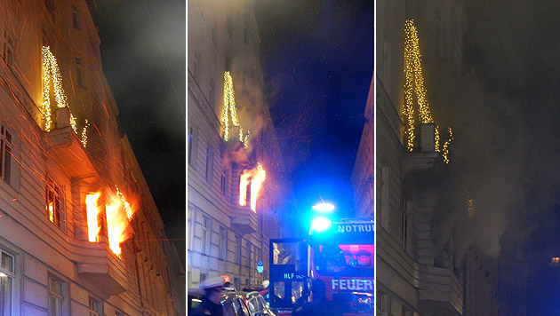Die Flammen schlugen in der Strahlenergasse im 22. Bezirk teils meterhoch aus den Fenstern. (Bild: MA 68 Lichtbildstelle)