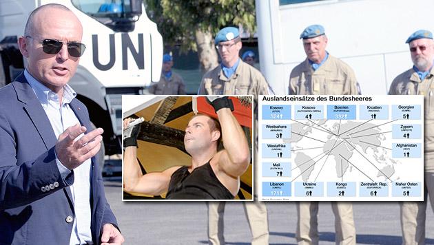 Minister Klug besuchte unsere Soldaten im Libanon; für eine größere Version der Grafik siehe Bild 2! (Bild: HBF/Gunter Pusch)