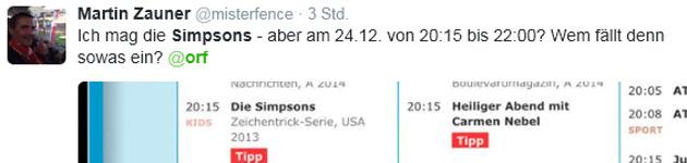 ORF machte den Heiligen zum Simpsons-Abend (Bild: twitter.com)
