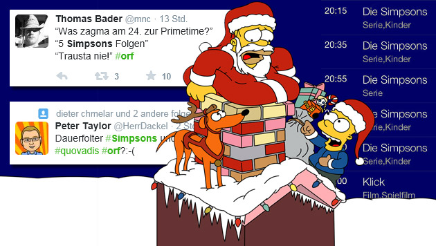 ORF eins war am Heiligen Abend in Gelb gehalten, was so manchen User rotsehen lässt. (Bild: twitter.com, simpsonswiki.com)
