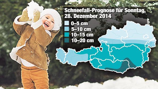 Jetzt ist der Winter da: Schnee bis ins Flachland (Bild: Krone-Grafik, Quelle: UBIMET)