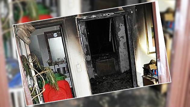 Die Wohnung in Wien-Hietzing wurde durch die Flammen schwer beschädigt. (Bild: APA/POLIZEI/UNBEKANNT)