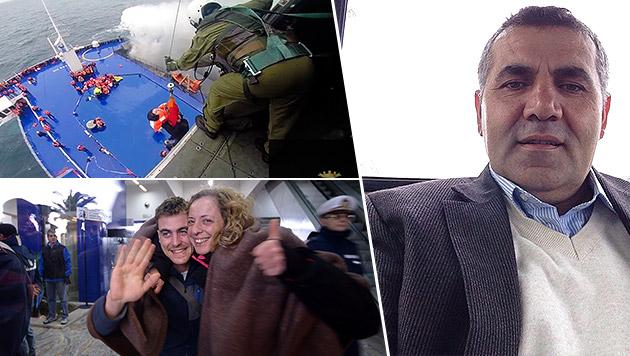 Mehmet Ali (re. im Bild) überlebte das Fähren-Inferno, auch das Pärchen (li.) hatte Glück. (Bild: AFP, AP, Repro/Zoom-Tirol)