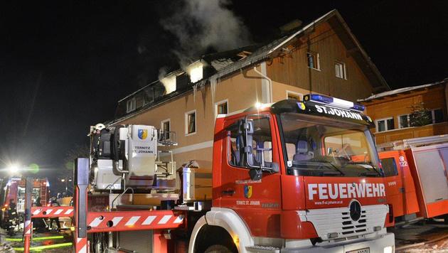 Brand im Flüchtlingsheim in Grünbach am Schneeberg (Bild: APA/EINSATZDOKU.AT/PATRIK LECHNER)