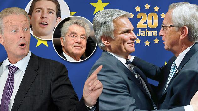 Unsere Politiker im EU-Jubelrausch (Bild: APA, thinkstockphotos.de, krone.at-Grafik)
