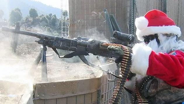 Auch dieses Bild von einem US-Soldaten in Afghanistan zeigen die Rocker auf ihrer Facebook-Seite. (Bild: facebook.com/ Median Empire MC)
