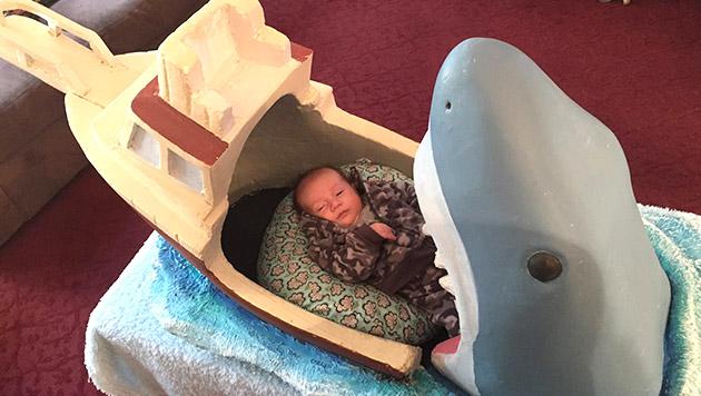 (Alb-)Traum-Geschenk: Der Weiße Hai als Kinderbett (Bild: Facebook/Joseph Reginella)
