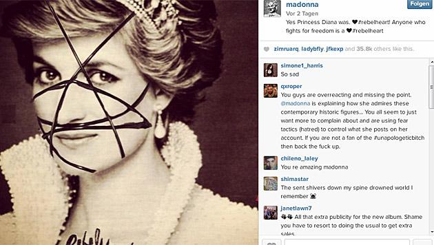 """Lady Diana ist laut Madonna ebenfalls ein """"Rebel Heart"""". (Bild: instagram.com/madonna)"""