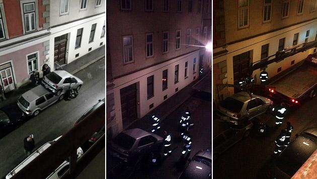 """Mann rammt bei Rückwärtsfahrt Motorrad und Autos (Bild: """"Krone""""-Leserreporter)"""