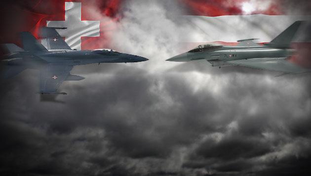 Schweizer Jets fliegen doppelt so oft wie unsere (Bild: Bundesheer, DOMINIC FAVRE/EPA/picturedesk.com, krone.at-Grafik)