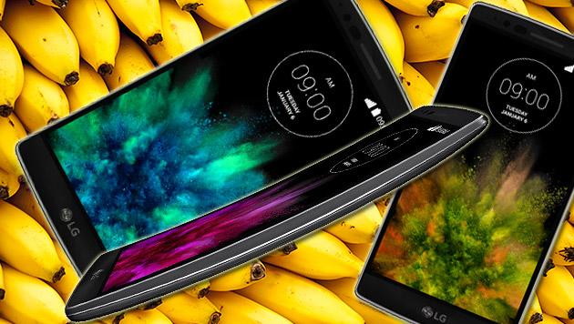 Krumm wie eine Banane: LG enthüllt das G Flex 2 (Bild: thinkstockphotos.de, LG, krone.at-Grafik)