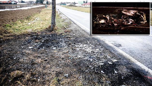Gerald G. wurde beim Unfall aus dem Wagen geschleudert und starb neben dem brennenden Wrack. (Bild: Imre Antal, FF Pachfurth)