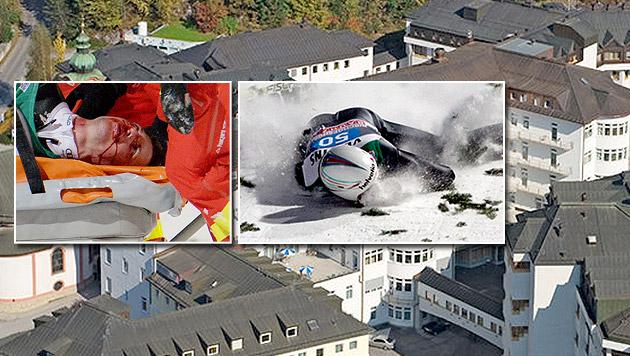 Simon Ammann: Die Diagnose! Aufprall mit 130 km/h (Bild: APA/EPA/DANIEL KARMANN, Klinik Schwarzach, AP)